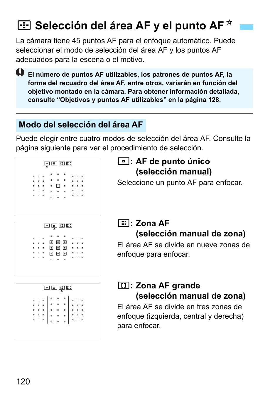 Selección del área af y el punto af, Sselección del área af y el ...