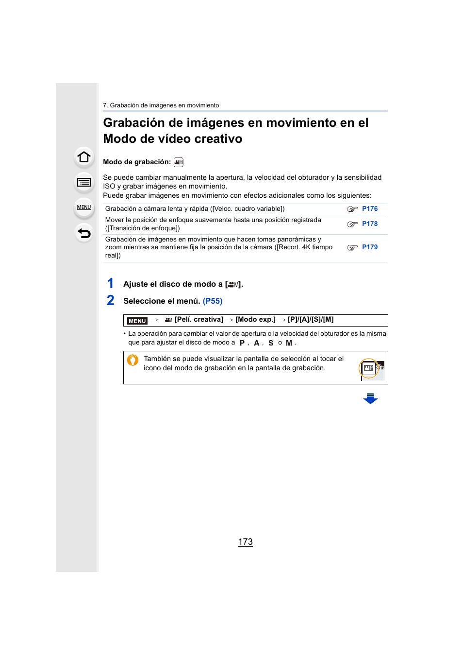 P173) | Panasonic Lumix GH5 Manual del usuario | Página 173 / 347