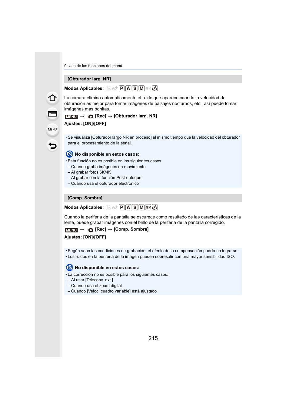 P215, P215) | Panasonic Lumix GH5 Manual del usuario | Página 215 / 347